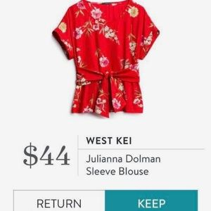 West Kei Julianna Dolman Sleeve Blouse